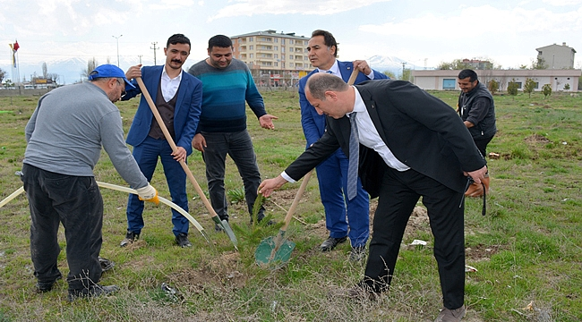 Iğdır Devlet Hastanesi Bahçesi 170 Fidan Dikilerek Yeşillendiriliyor