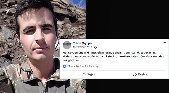 Iğdır'lı Asker Erhan Çiyapul Hakkari'de Şehit Düştü