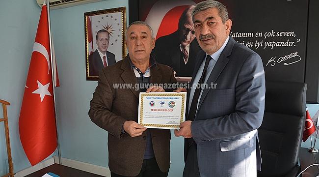 TADDEF'den Başkan Bayram Ali Ballı'ya Teşekkür Belgesi