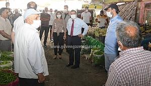 Vali Sarıibrahim Cumhuriyet Caddesinde Maske ve Hijyen Denetimi Yapıldı